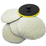 SPTA 7inch POLISHER/BUFFER SOFT WOOL BONNET & PAD with HOOK & LOOP for POLISHING/BUFFING -M14 Thrad Pack Of 5Pcs
