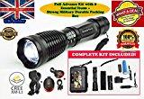SeddyTech tactical flashlight Kit.Super Bright Waterproof LED torch light with 2000 Lumens,Zoom Function,5 Light Modes-Includes a Battery,Battery Charger,Car charger,Holster,Cycle Mount & Tail light with Mount.Best for Cycling,Camping,Emergency,Patrolling & More