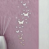 Tonsee 30PC Butterfly Combination 3D DIY Mirror Wall Stickers Home Decoration