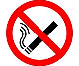 PACK OF 24 NO SMOKING SIGNS - SELF ADHESIVE STICKER/LABEL SIZE APPROX 75MM, SCREEN PRINTED MADE BY PROFILE SIGNS