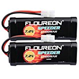 FLOUREON® 2 Pcs 7.2V 3500mAh NiMH High Capacity Battery Pack with Tamiya Connector for Popular Standard RC Cars including Traxxas, LOSI, Associated, HPI, Tamiya, Kyosho, etc