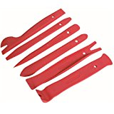 Qbace 6 Piece Nylon Trim Removal Set, Pry Bar Set , Fastener Remover Tool Set, Red