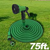 The Best Expandable Garden Hose 75ft . The Strongest Garden Hose on amazon! Super strong! Will never leak. Indestructible Triple Layered Latex Core with Hardened Plastic Connectors. No kink flexible MAGIC HOSE.