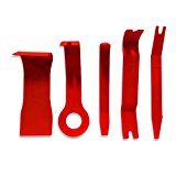 Qbace 5 Piece Nylon Trim Removal Set, Pry Bar Set , Fastener Remover Tool Set, Red