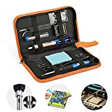 6-in-1 60W 220V Electric Soldering Iron Kit with Adjustable Temperature Welding Soldering Iron, Extra 5pcs Tips, Tweezers, Solder Wire, Stand, Cleaning Sponge,Tools Sets(UK Standard Plug)