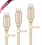 Globalink (TM) Lighting to USB Charger Cable for iPhone, Extra Long and Ultra Durable USB Braided Charging and Syncing Cord for iPhone 5 5s 5c 6 6 Plus 6s 7 7 Plus, iPod 7, iPad mini mini 2 mini 3, iPad Air iPad Air 2 [Lifetime Guarantee Servies] 3 Pack, 1M 2M 3M, Gold