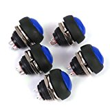 Waterproof Momentary Push Button Switch for Doorbell Car Boat 17mm Pack of 5 Blue
