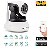 Wireless WiFi Security Camera System 1.0MP 720P HD Pan Tilt IP Network Surveillance Webcam,Day Night Vision Dog Cam,Baby Monitor,Two-Way Audio Nanny Cam,UK PLUG,SD Card Slot(128GB)