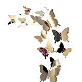 Indexp 12pcs DIY 3D Mirror Butterfly Artistic Decals Personalised Colorful Home Decorations Wall Stickers with Glue (Silver)