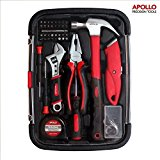 Apollo 81 Piece Homeowner Tool Kit including Heavy Duty Combination Pliers, Adjustable Wrench, Utility Knife and Low Vibration Fibreglass Claw Hammer -- in Sturdy Reusable Case
