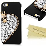 Mavis's Diary iPhone SE Case ,iPhone 5S Case ,iPhone 5 Case - 3D Handmade Bling Diamonds with Shiny Gems Skull Sparkly Glitter Rhinestones Black Case Hard PC Cover