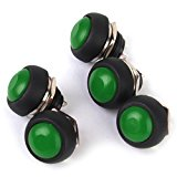 Waterproof Momentary Push Button Switch for Doorbell Car Boat 17mm Pack of 5 Green