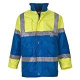 YOKO Men's Hi-vis Contrast Jacket (HVP303) Waterproof and Windproof Two Front Pockets (X-Large, Yellow/ Royal Blue)