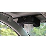 HerZii Microfiber Leather Car Sun Rectangular Visor Tissue Box Paper Napkin Holder (Black)